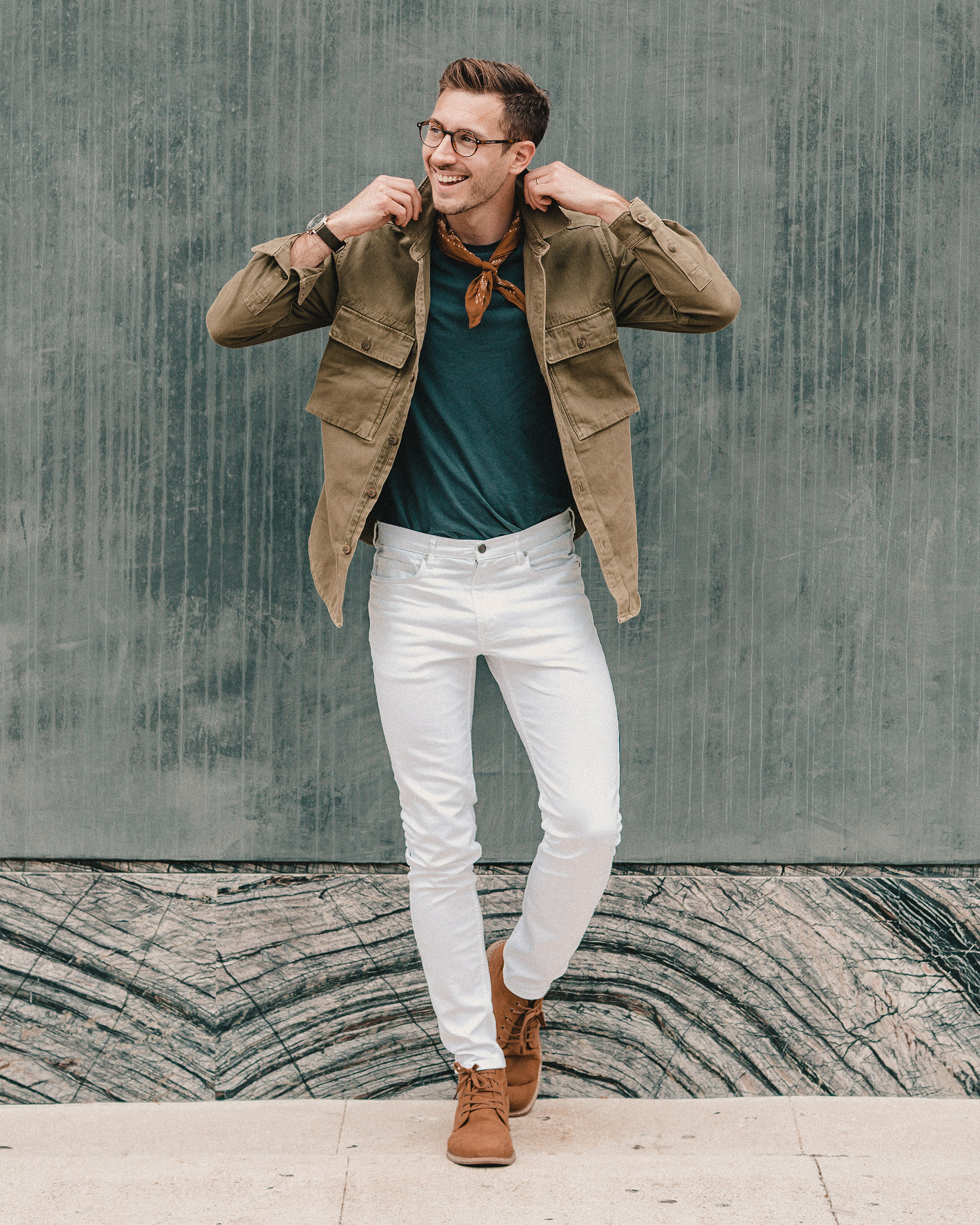 mens white denim outfit